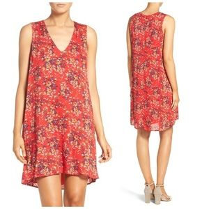 Charles Henry red floral print trapeze dress